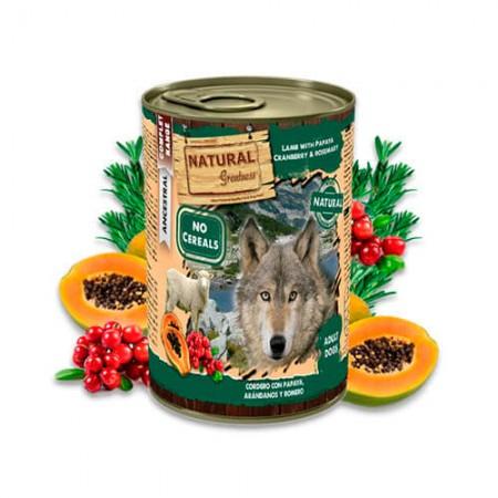Lata Natural Greatness de cordero con papaya, arándanos y romero 400g