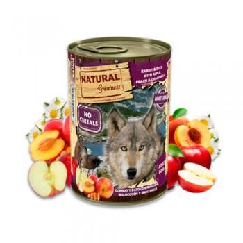 Natural Greatness de conejo y pato con manzana, melocotón y manzanilla lata 400g